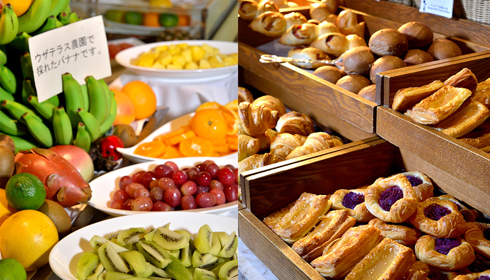 fruits and bread of breakfast buffet