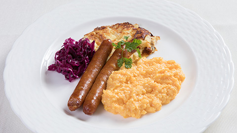 """Placki"" with Scrambled Eggs and Polish Sausages"