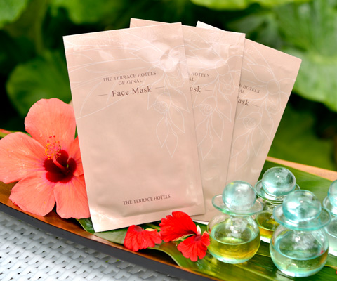 packages of galangal  facial mask and aroma oil